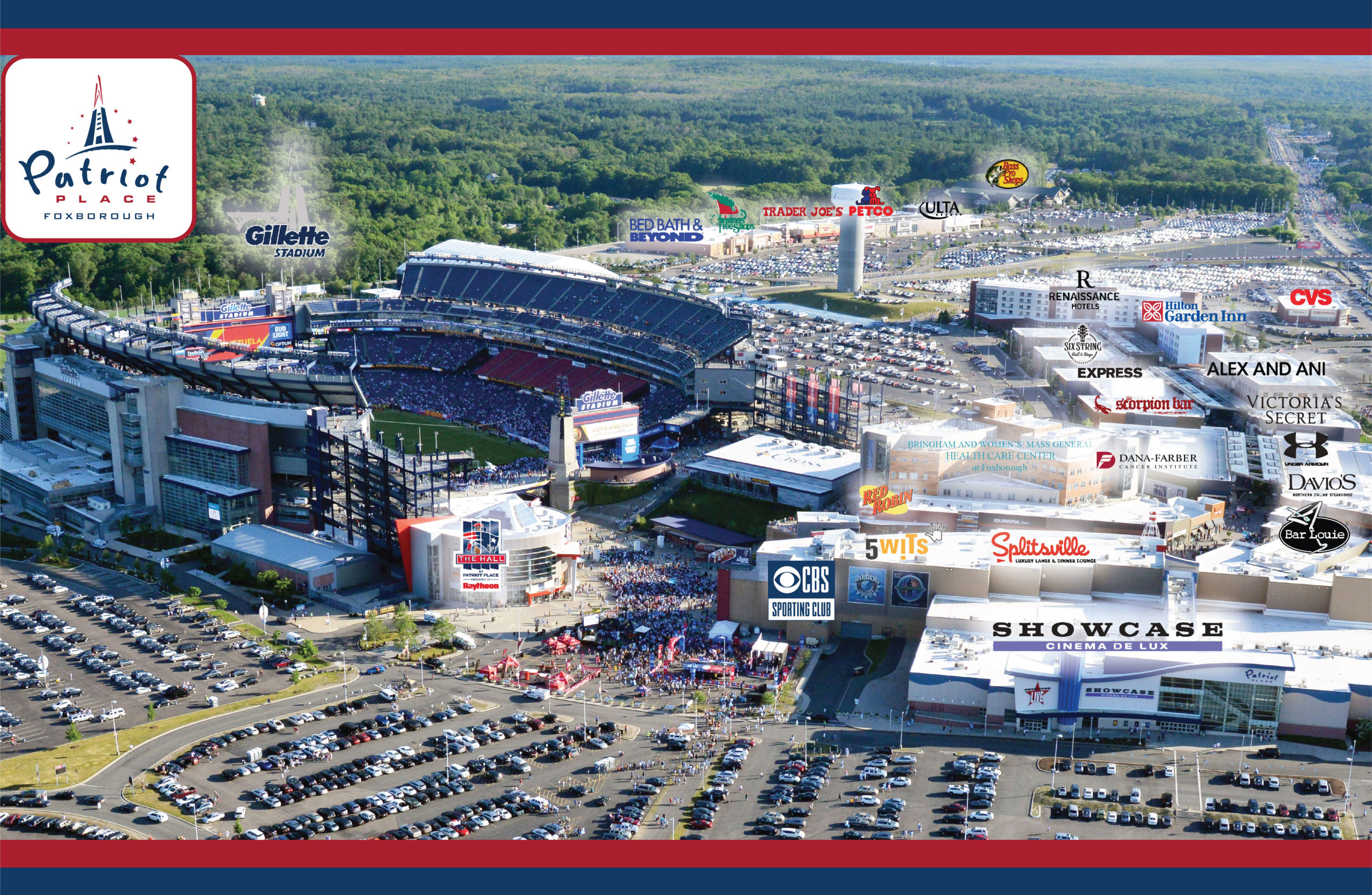 Patriot Place Aerial View. Retail Space at Patriot Place leasing available through Blackline Retail Group