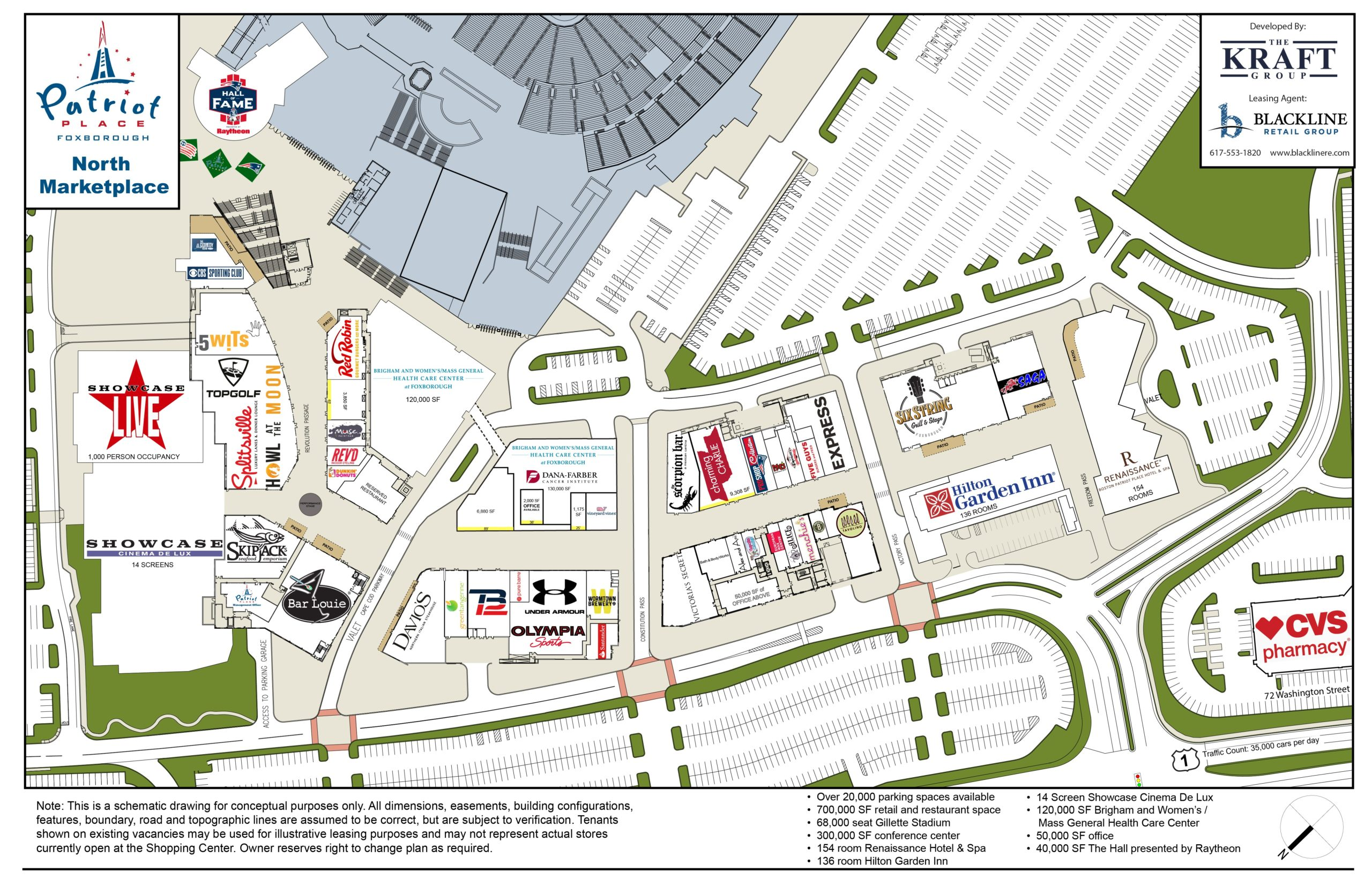 Patriot Place Map. Retail Space at Patriot Place available through Blackline Retail Group