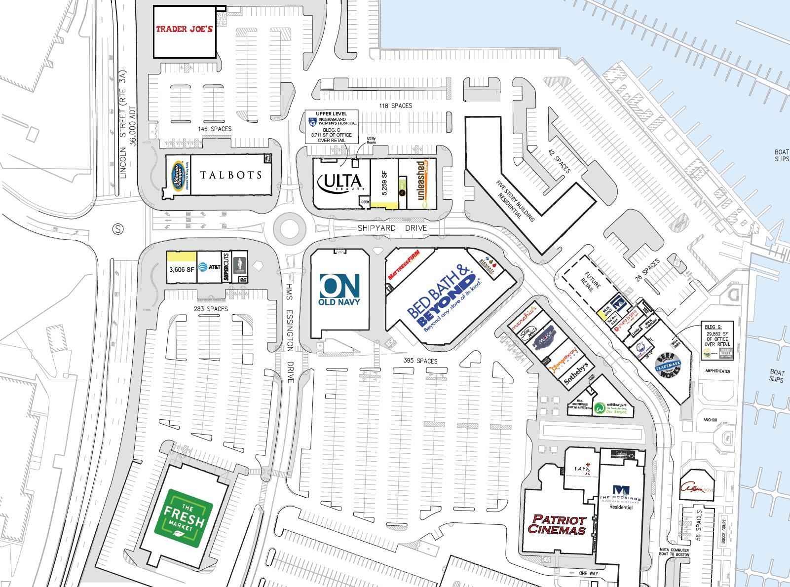 Hingham Shipyard Map drawing of retail spaces