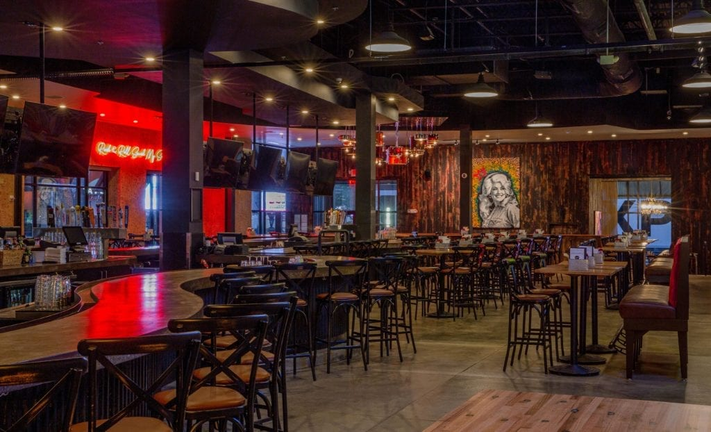 Newly renovated interior of Six String Grill & Stage at Patriot Place.  Commercial Rental Property Services provided by Blackline Retail Group.